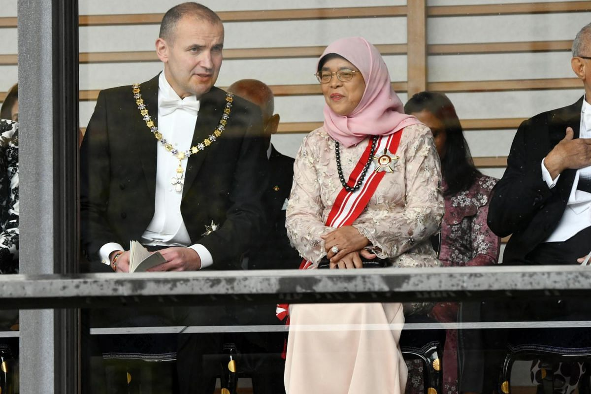Iceland's President Gudni Thorlacius Johannesson and Singapore's President Halimah Yacob at the enthronement of Japan's Emperor Naruhito on Oct 22, 2019.