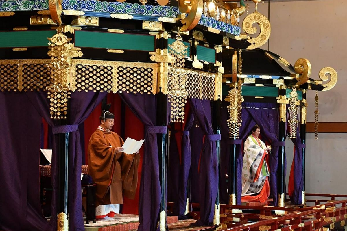 Emperor Naruhito and Empress Masako at the enthronement ceremony where the emperor officially proclaimed his ascension to the Chrysanthemum Throne at the Imperial Palace in Tokyo on Oct 22, 2019.