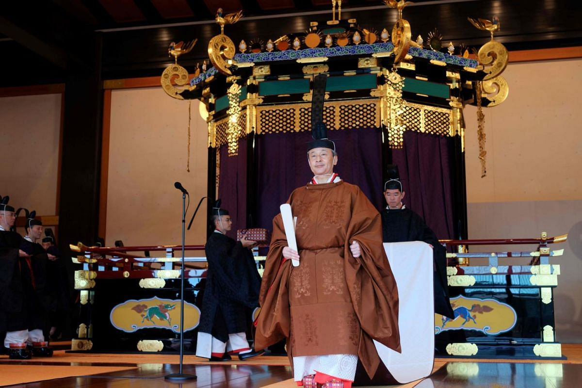 Emperor Naruhito at the end of the enthronement ceremony where he officially proclaimed his ascension to the Chrysanthemum Throne at the Imperial Palace in Tokyo on Oct 22, 2019.