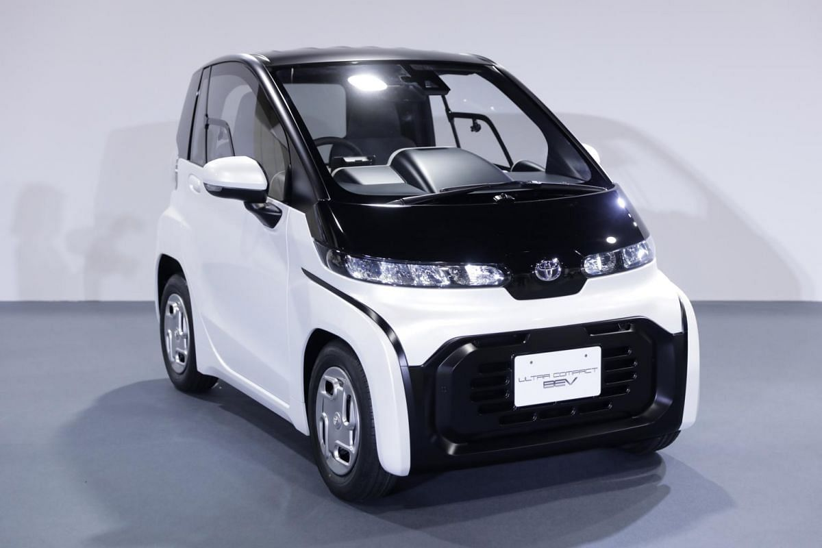 A Toyota Motor Corp Ultra-compact battery electric vehicle (BEV) sits on display at the Tokyo Motor Show, in Tokyo on Oct 23, 2019.