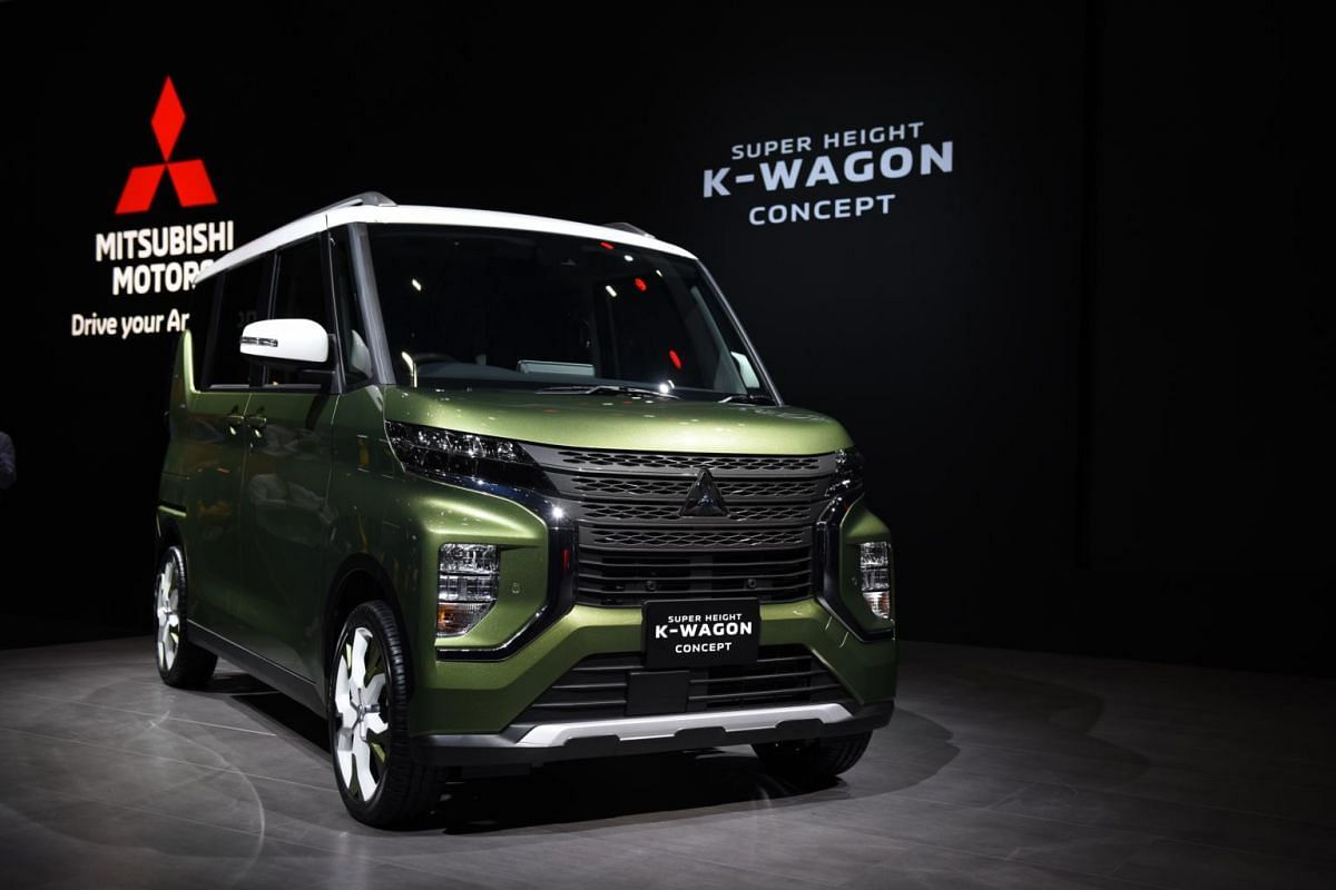 A Mitsubishi Motors Corp super height K-WAGON electric concept vehicle on display during the media day of the Tokyo Motor Show, in Tokyo on Oct 23, 2019.