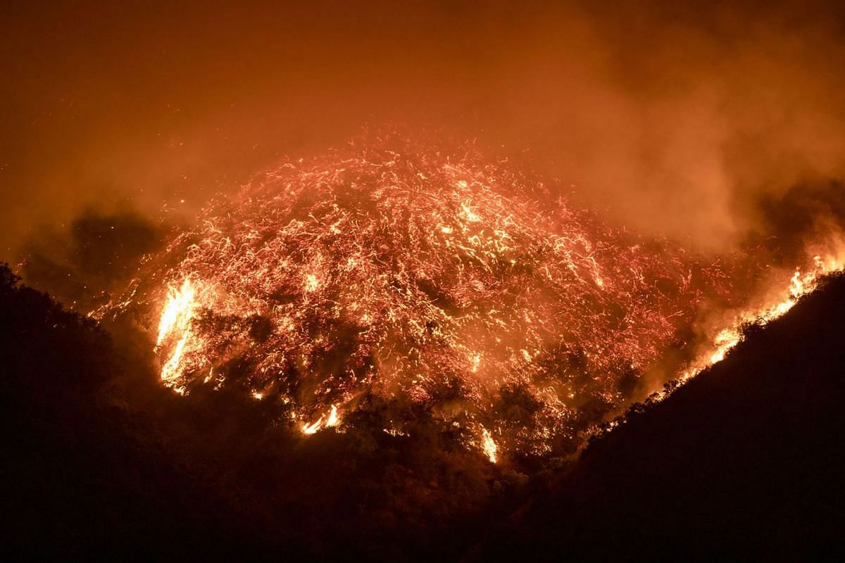 The Getty fire burns a hillside next to the 405 freeway in Los Angeles on Monday, Oct 28, 2019.