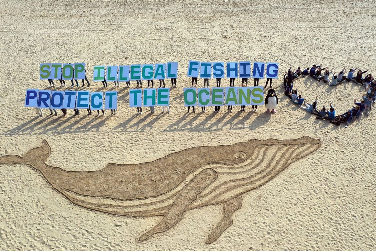 Greenpeace activists stand next to sand art featuring a giant whale during a protest against illegal fishing at Haeundae Beach in Busan, South Korea, on Oct 30, 2019. The action follows the US government's preliminary designation of South Korea as a