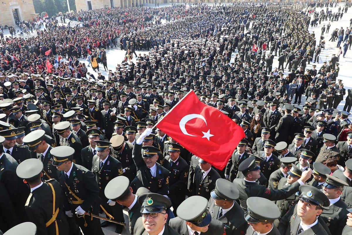 Military personnel gather at the Anitkabir, the mausoleum of Mustafa Kemal Ataturk, founder of the Turkish Republic, as part of 96th Republic Day commemorations in Ankara, Turkey, on Oct 29, 2019.
