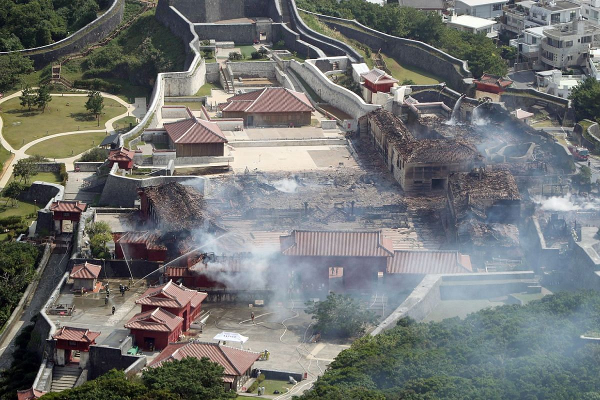 An aerial photograph shows the destroyed Shuri Castle in Naha, Okinawa prefecture, southern Japan, Oct 31, 2019.