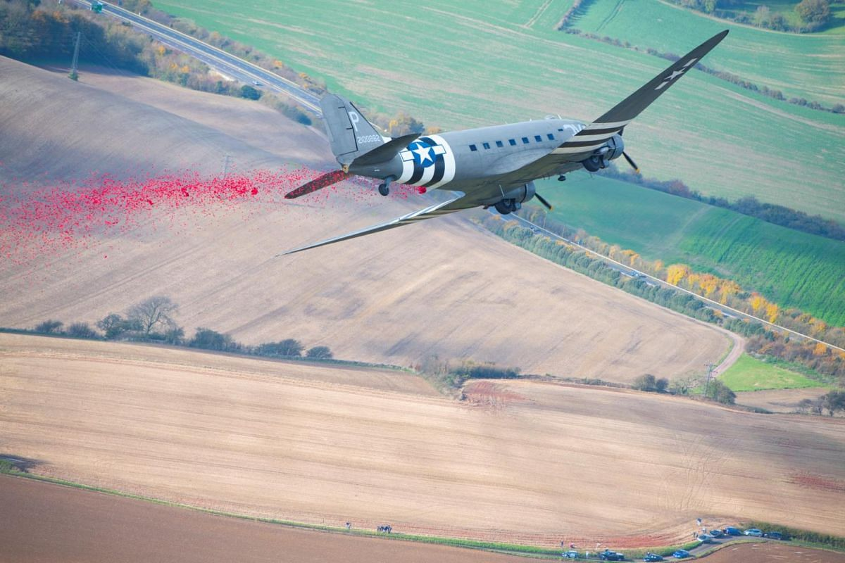 A plane drops 750,000 poppies over the White Cliffs of Dover on Remembrance Sunday in Dover, Britain, on Nov 10, 2019.