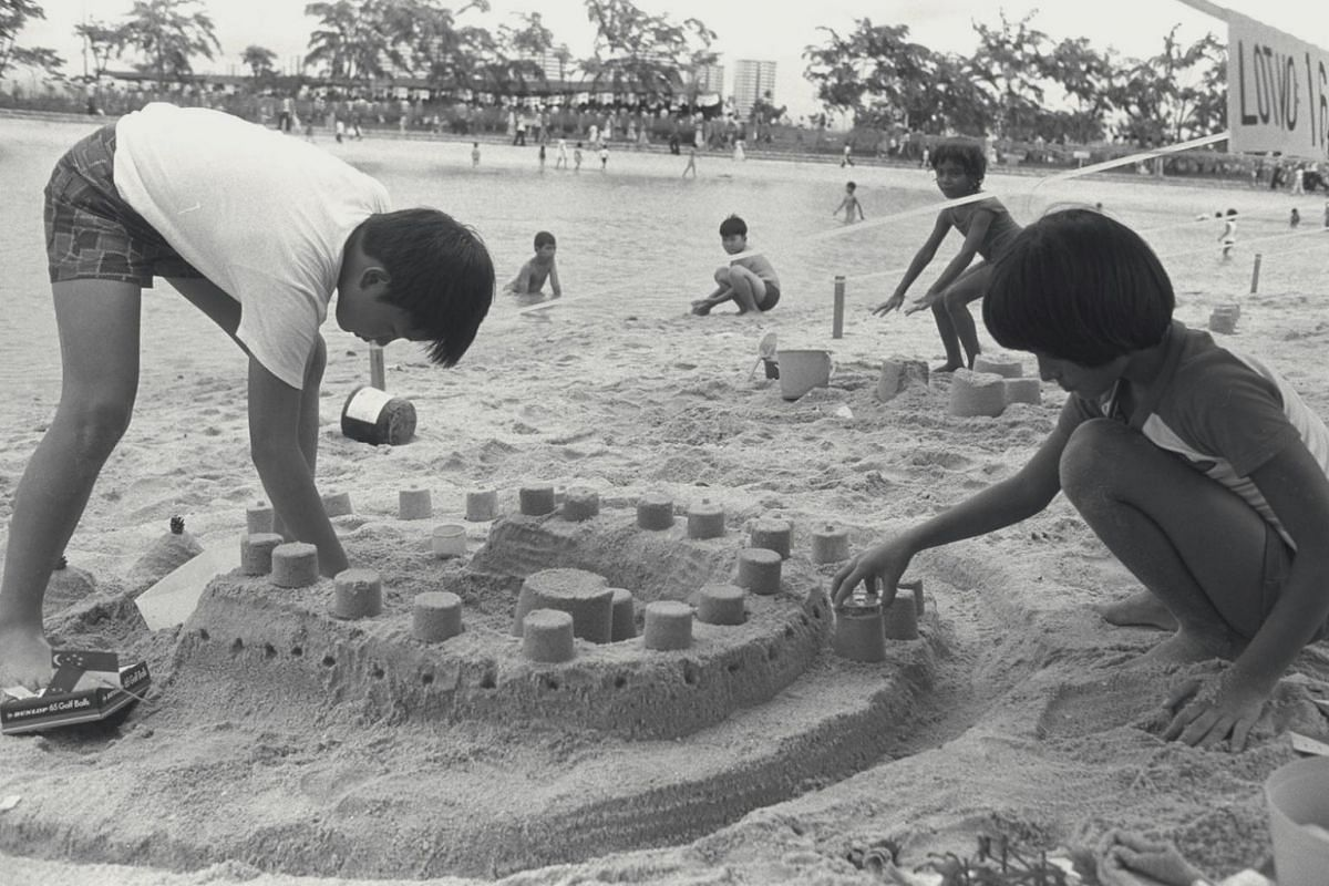 Children play in the sand at East Coast Park. The park, which opened in 1972, is Singapore's largest and has 7.5 million visits annually.