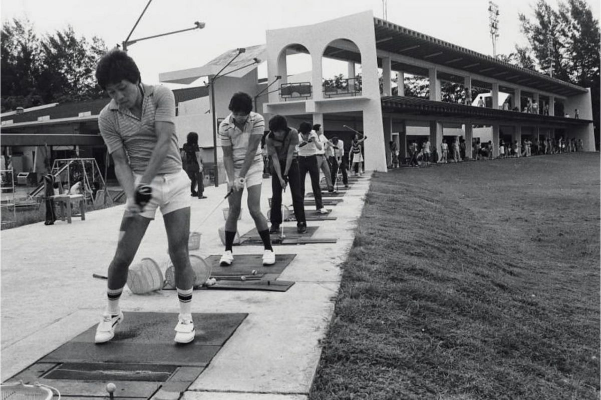 Golfers at the former Parkland Golf Driving Range at East Coast Park in 1982. The area would later become Parkland Green, a recreational area with an open lawn.