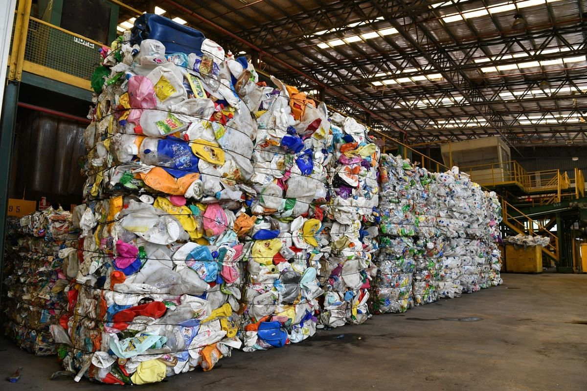 <p>Used plastics that have been made into bales for onward recycling. About 40 per cent to 50 per cent of waste at the facility is contaminated or not recyclable – for example, with people dumping rotting food waste onto clean paper and plastic.</p