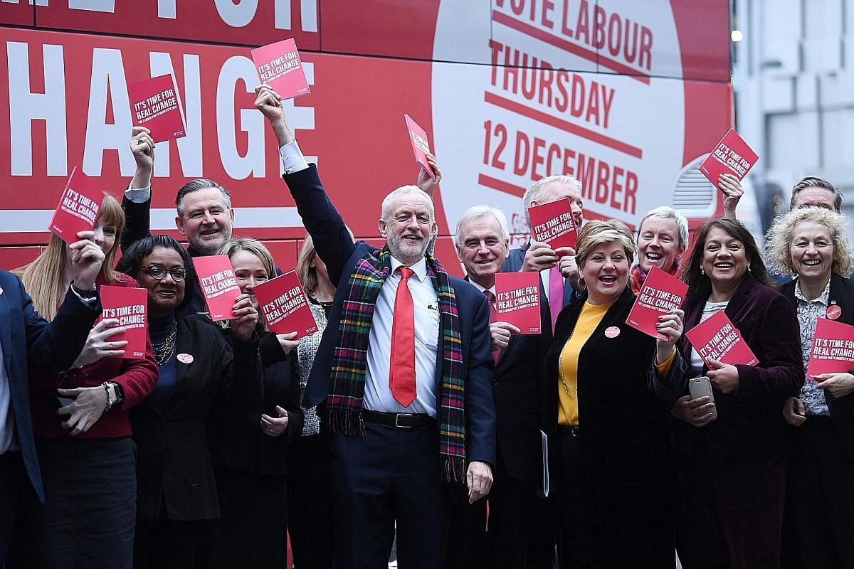 Britain's opposition Labour Party leader Jeremy Corbyn (centre) launching his party's manifesto in Birmingham last Thursday. Mr Corbyn's history of far-left revolutionary leanings and his present vacillating policy over Brexit have split the voters w
