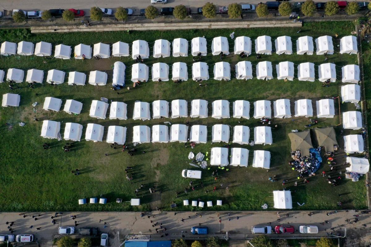 A view of the makeshift camp in Thumane, north-west of capital Tirana, after an earthquake hit Albania.