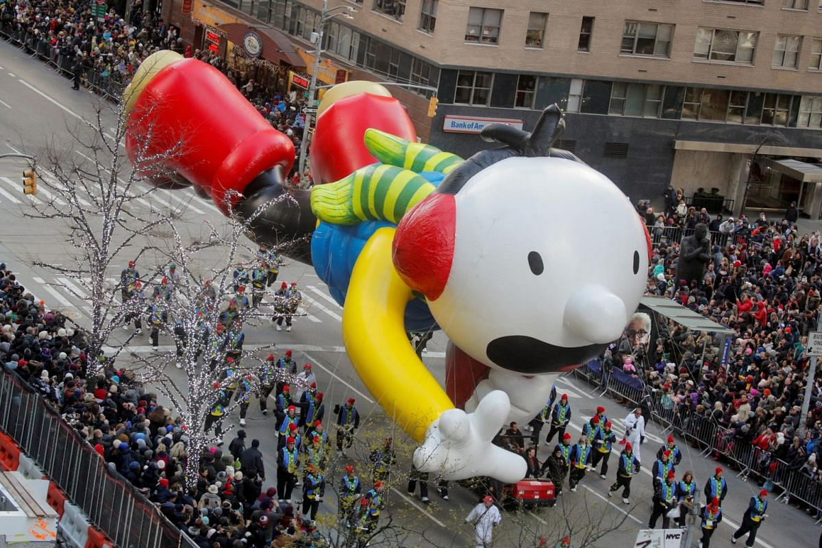 The Diary of a Wimpy Kid balloon hovers above the crowd during the 93rd Macy's Thanksgiving Day Parade in Manhattan, New York, on Nov 28, 2019.