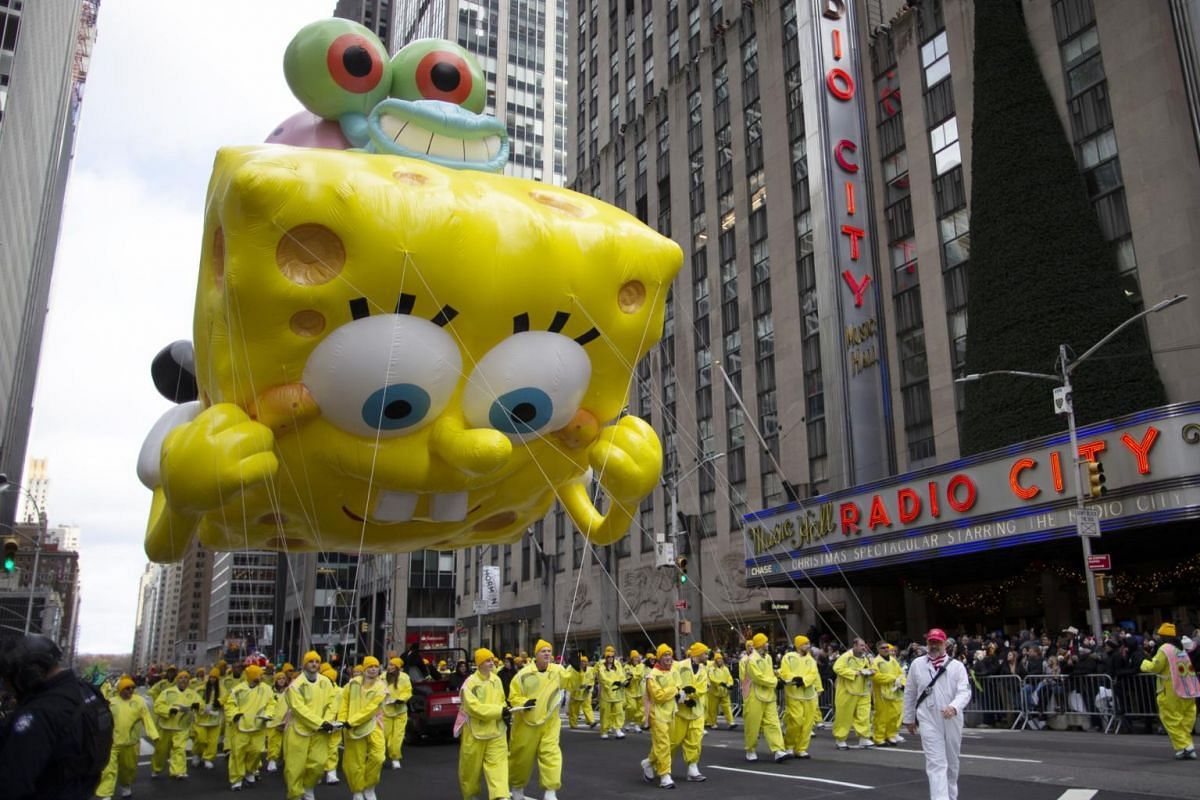 A SpongeBob SquarePants and Gary balloon makes its way down Sixth Avenue during the Macy's Thanksgiving Day Parade, on Nov 28, 2019, in New York.
