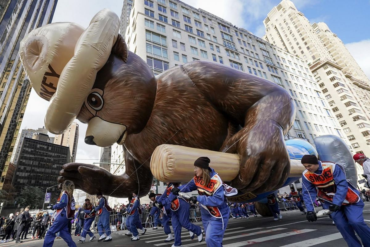 Smokey the Bear makes its first appearance since 1993 during the 93rd Annual Macy's Thanksgiving Day Parade in New York City, on Nov 28, 2019.