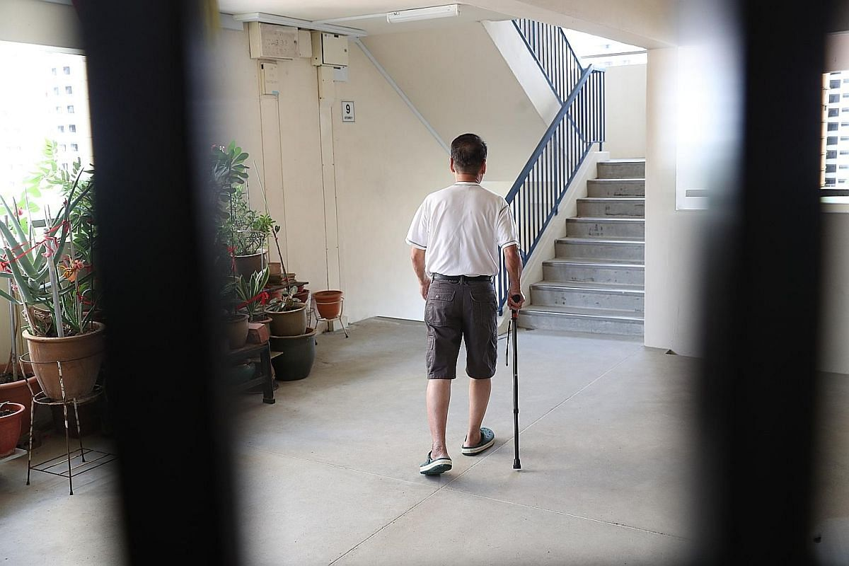 Mr Chua Wah Nam, 71, who lives in a four-room flat in Block 712 Jurong West Street 71, walks with a limp after knee surgery six years ago. He relies on a walking stick to climb down two flights of stairs to get to the nearest lift landing in his bloc