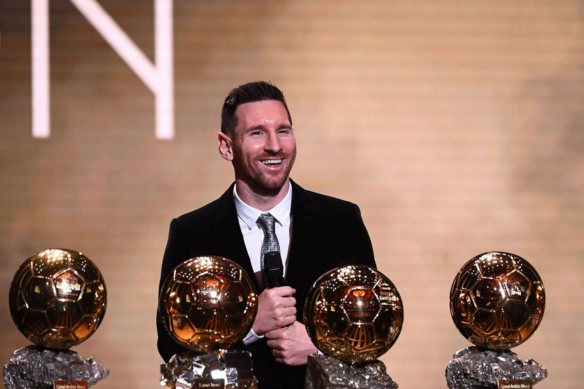 Barcelona's Argentinian forward Lionel Messi reacts after winning the Ballon d'Or France Football 2019 trophy at the Chatelet Theatre in Paris on December 2, 2019. PHOTO: AFP