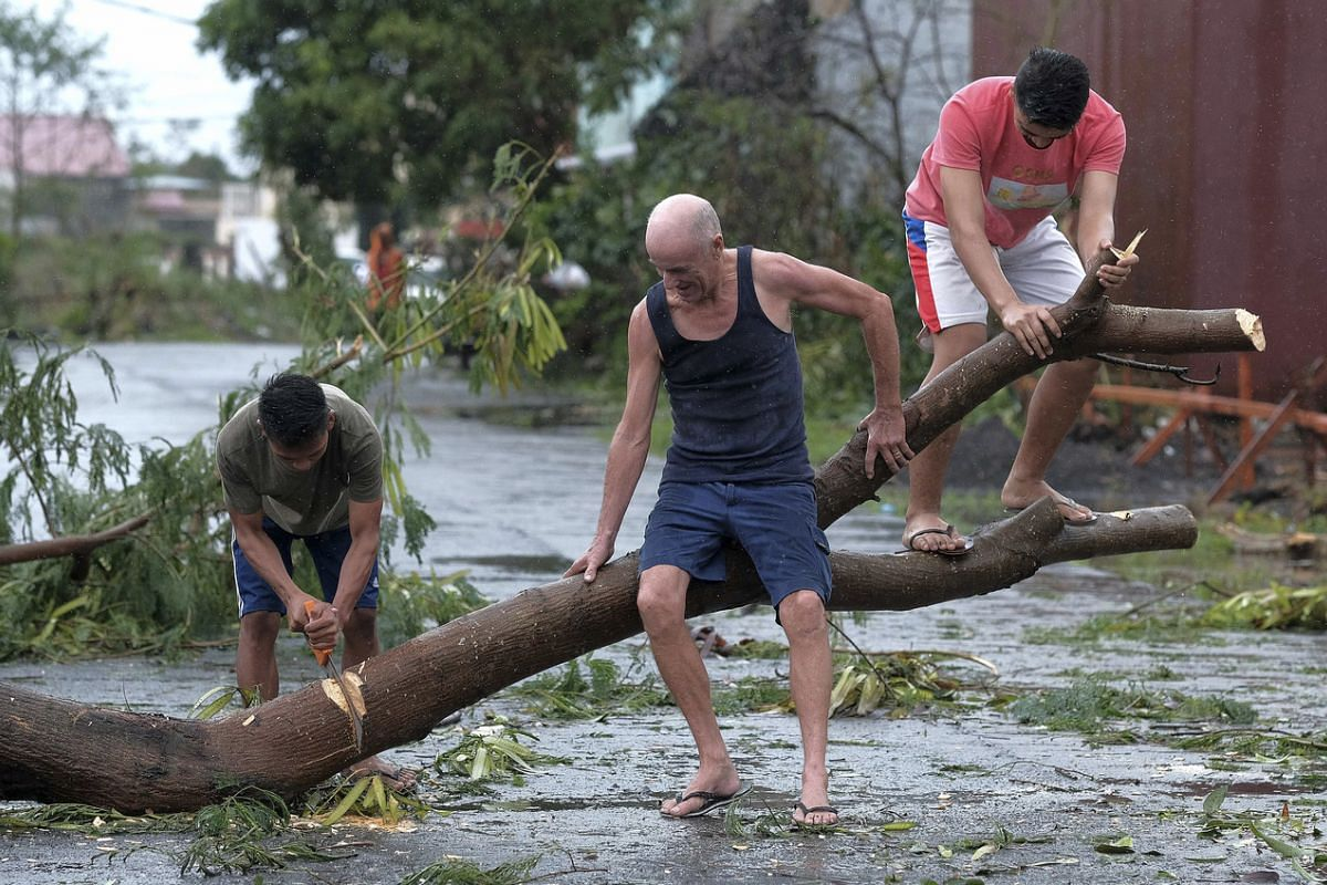 Men cut up a tree that fell due to strong winds as Typhoon Kammuri slammed Legazpi city, Albay province, south-east of Manila, Philippines, on Dec 3, 2019.