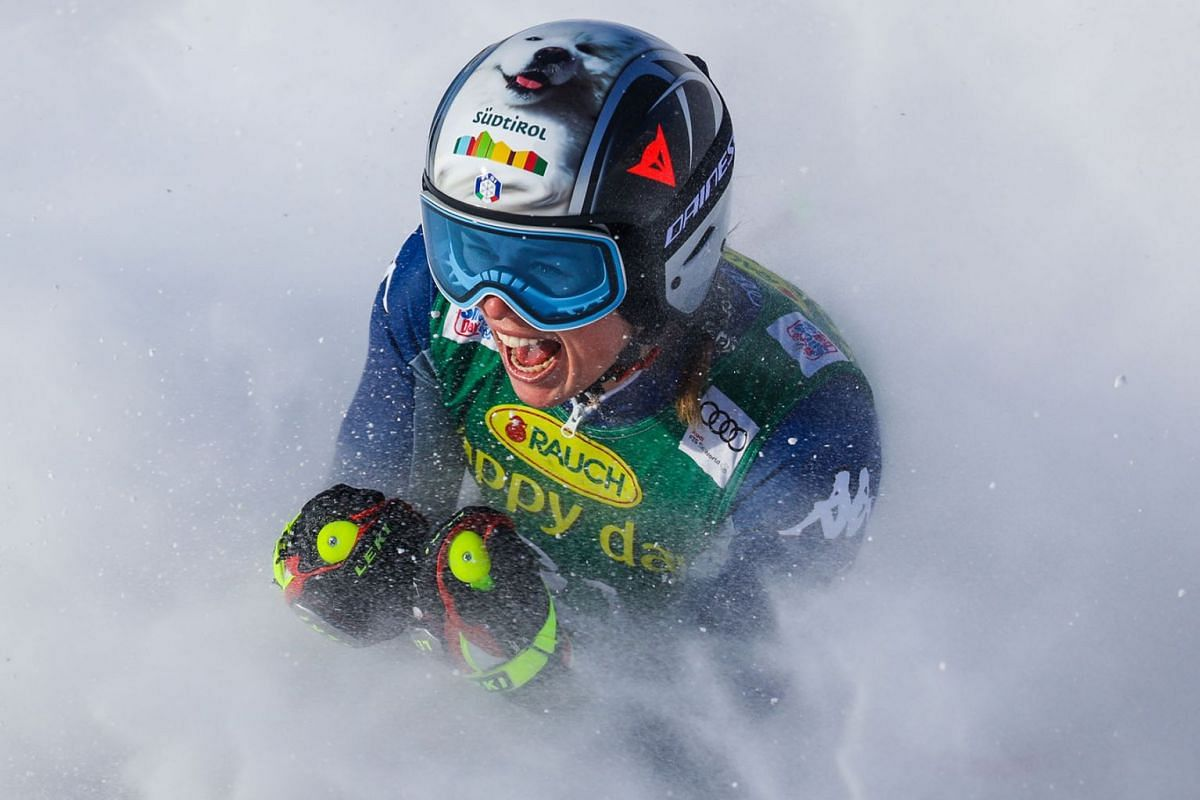 Nicol Delago of Italy reacts in the finish area during the women's Super G race in the Lake Louise FIS Women's Alpine Skiing World Cup at Lake Louise Ski Resort on Dec 8, 2019 at Lake Louise, in Alberta, Canada. PHOTO: USA TODAY SPORTS