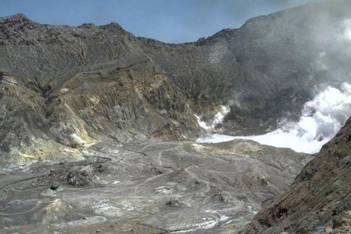 The crater rim of White Island, also known as Whakaari, shortly before the eruption.