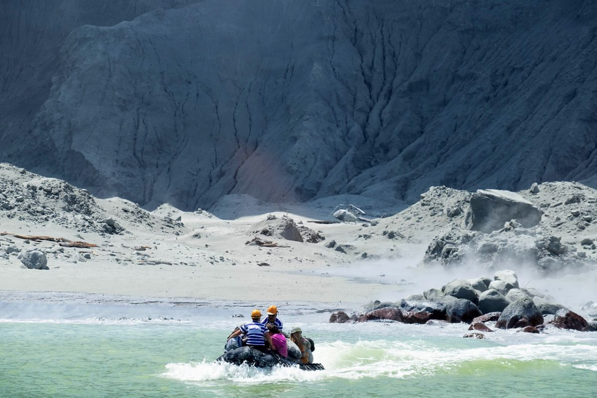 A rescue boat leaving White Island following a volcanic eruption on Dec 9, 2019.