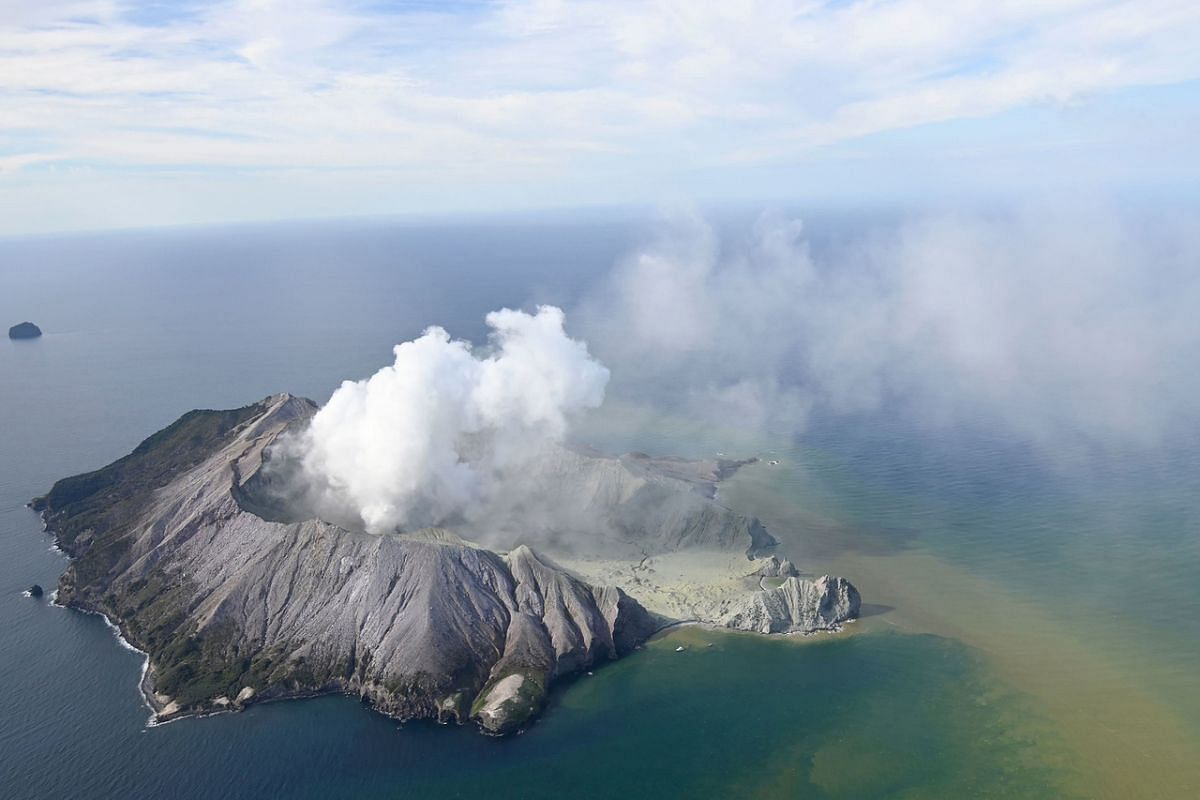 An aerial photo showing White Island after its volcanic eruption on Dec 9, 2019.