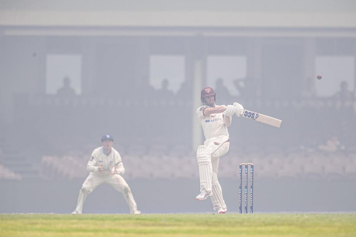 Mark Steketee (right) of Queensland bats during day three of the Sheffield Shield cricket match between New South Wales and Queensland at the Sydney Cricket Ground on Dec 10, 2019.