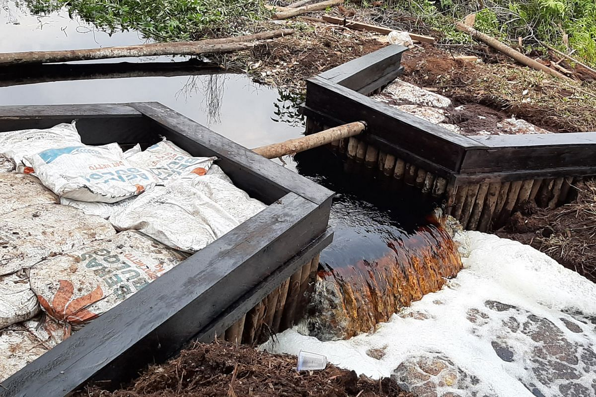 A dam set up in a drainage canal in Terkul village. Such dams help villagers put out fires faster by bringing water closer to the hot spots. Shortage of water was one of the key challenges that firefighting teams faced on the ground during blazes in