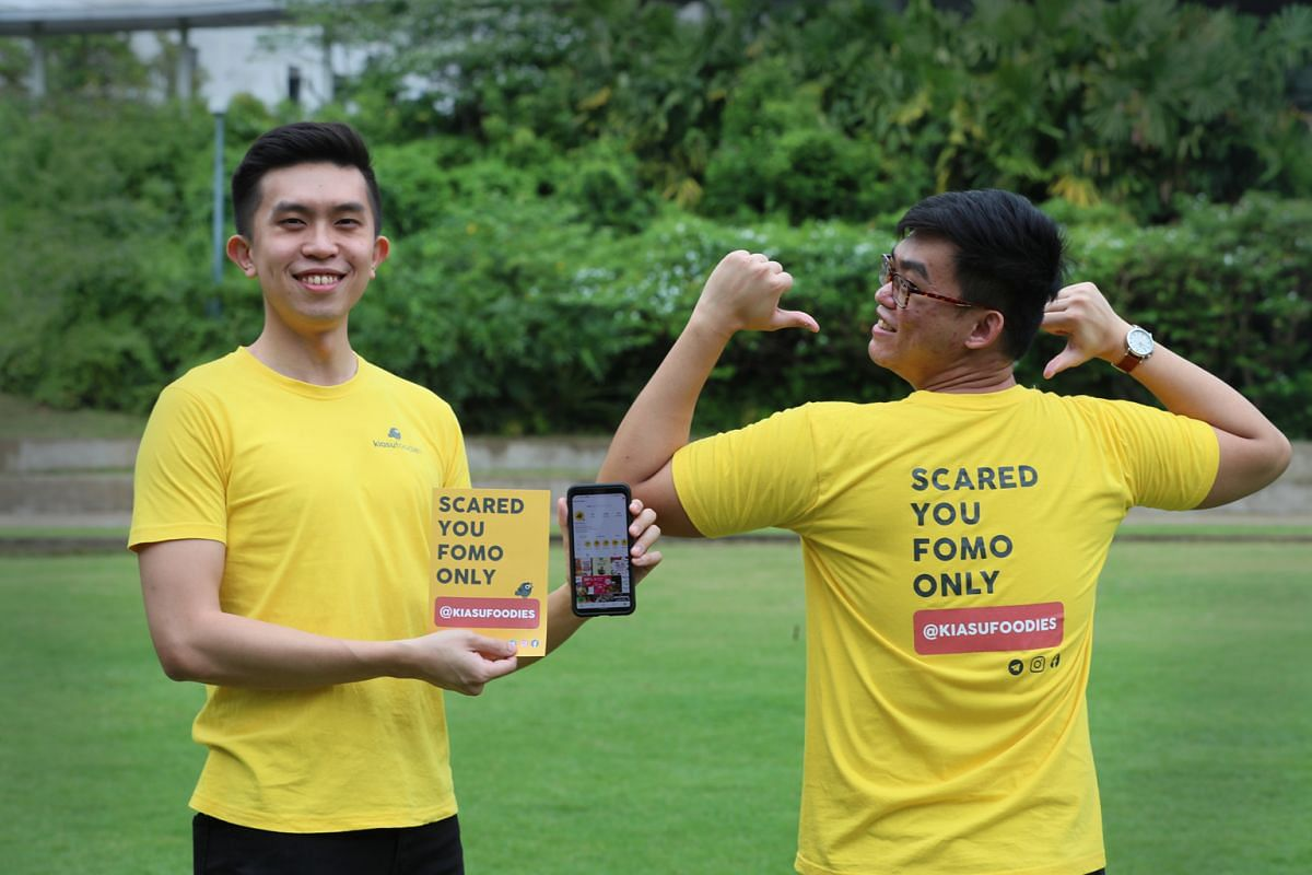 Mr Dylan Teo (left) and Mr Goh Wei Wen, who are studying at the National University of Singapore, co-founded Telegram channel Kiasu Foodies.