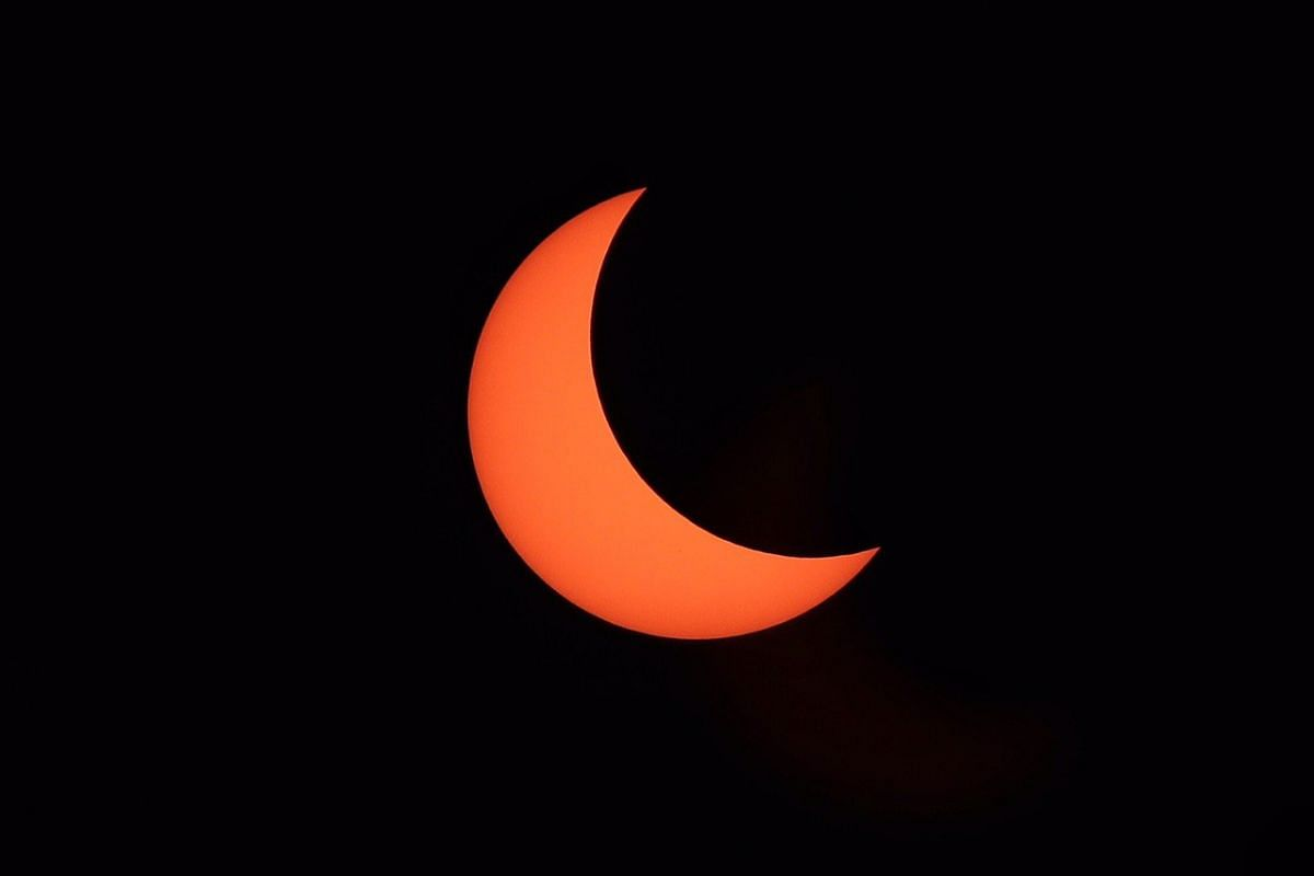 The partial solar eclipse at 12.47pm in Singapore on Dec 26, 2019.