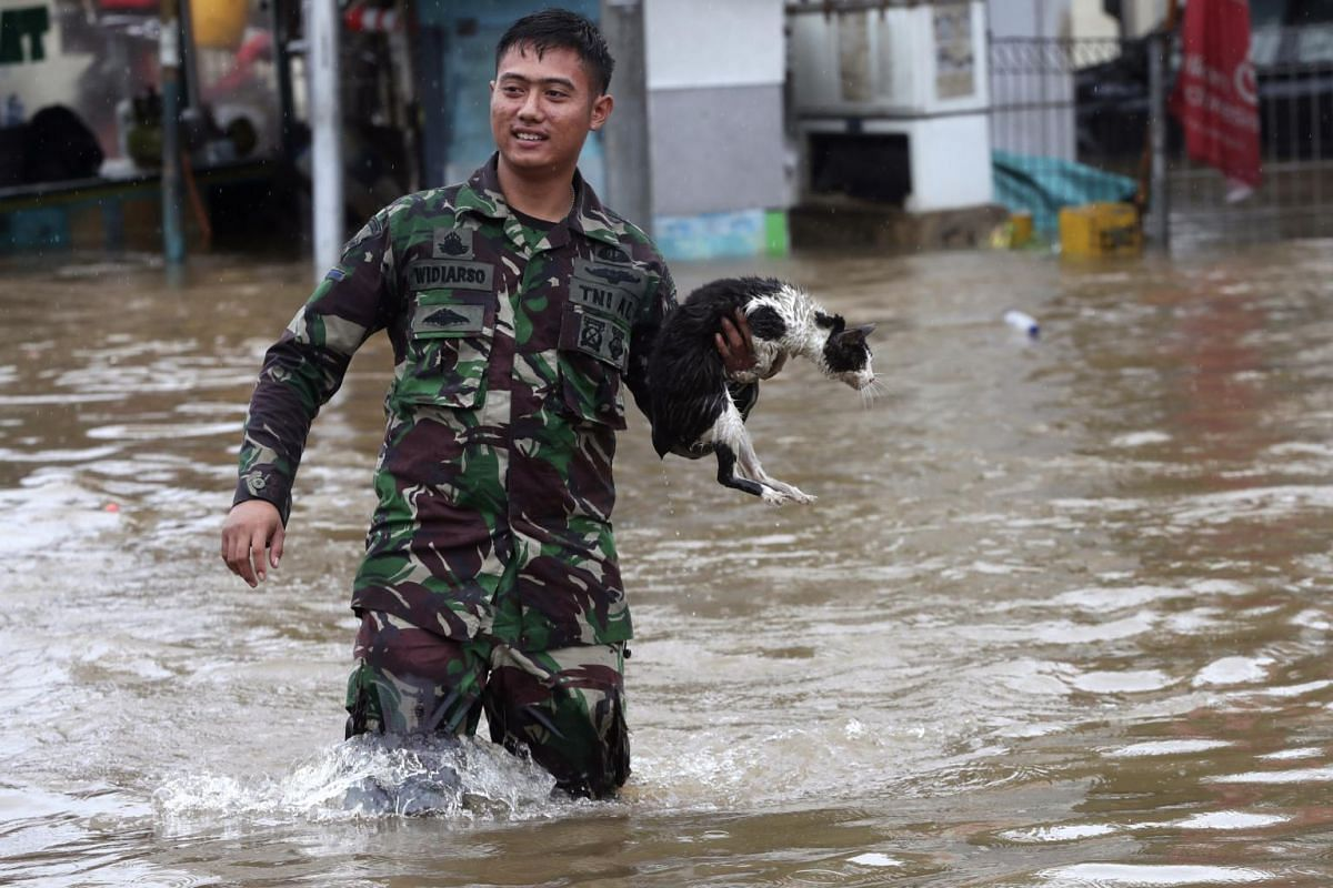 An Indonesian soldier holds a cat as he wades through floodwaters at Jatibening on the outskirts of Jakarta, Indonesia, on Jan 1, 2020.