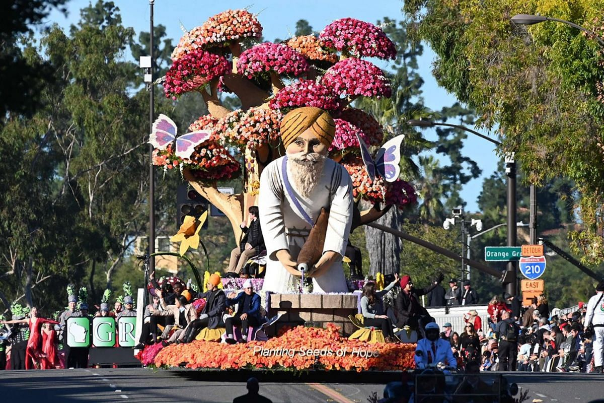 "The Sikh American Float Foundation float ""Planting Seeds of Hope"" participates in the 131st Rose Parade in Pasadena, California, January 1, 2020. PHOTO: AFP"