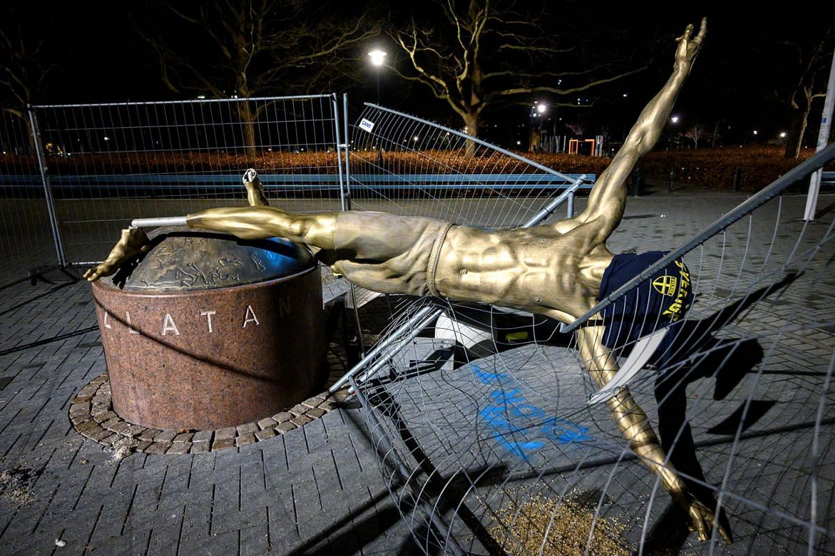 The statue of soccer player Zlatan Ibrahimovic is seen sawn down and destroyed, at the square next to football arena in Malmo, Sweden, Jan 5, 2020.