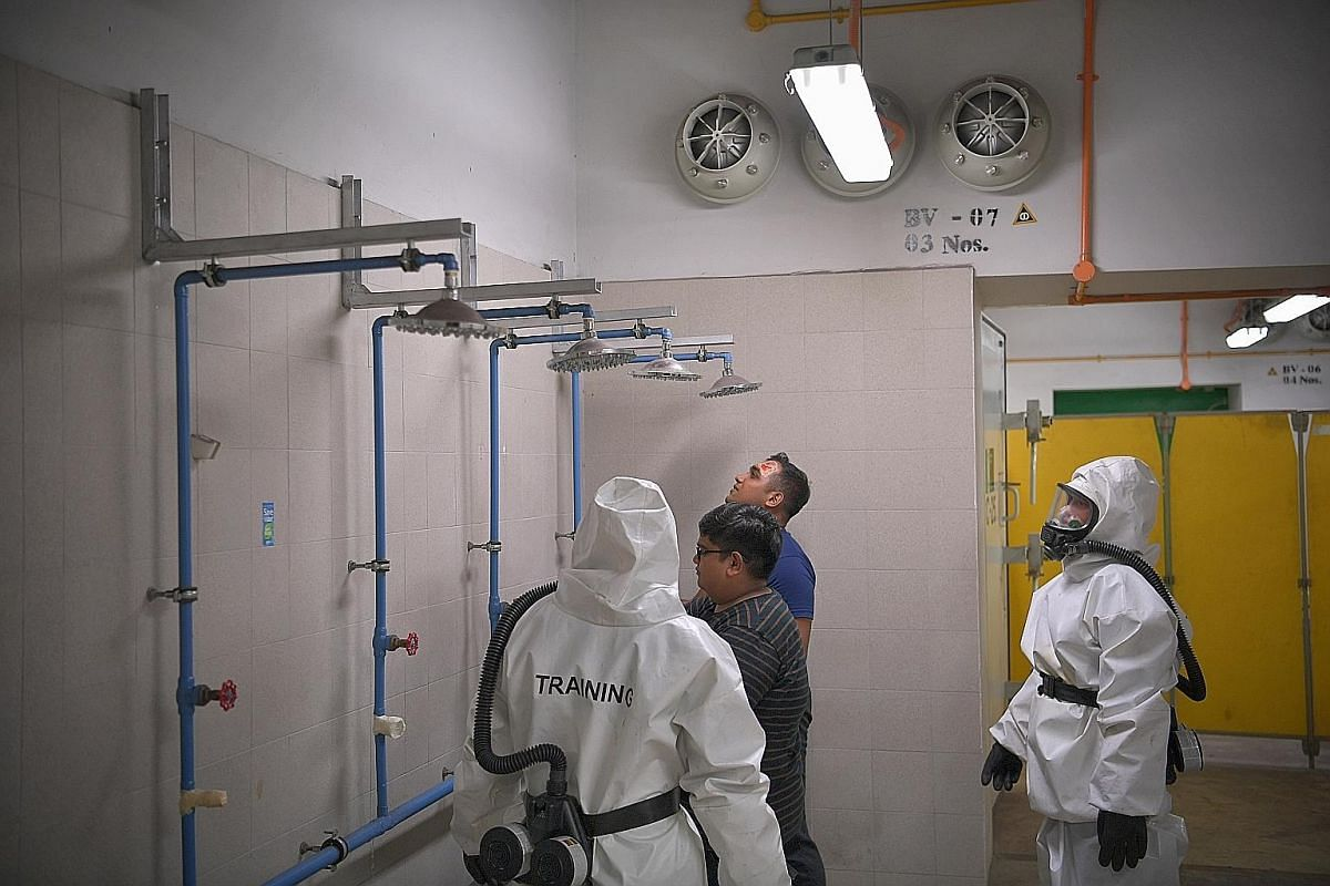 There are shower facilities at the decontamination chamber for anyone exposed to hazardous materials.