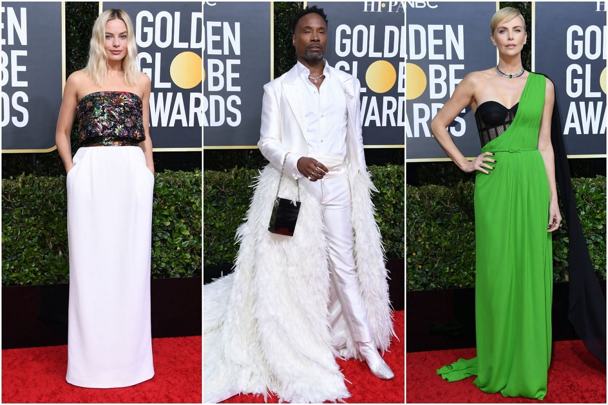 (From left) Actress Margot Robbie, actor Billy Porter and actress Charlize Theron.
