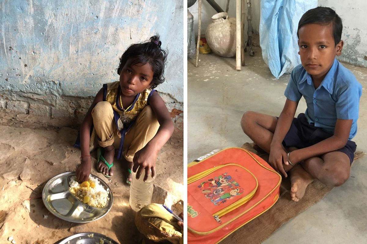 Left :AASKA KOL, SIX: Aaska Kol is a pupil at the local government childcare centre, or anganwadi, in Mahilokhar. While she eats eggs, her family is not able to afford them often. Right: NIKHIL YADAV, EIGHT Nikhil Yadav is a pupil at the government p