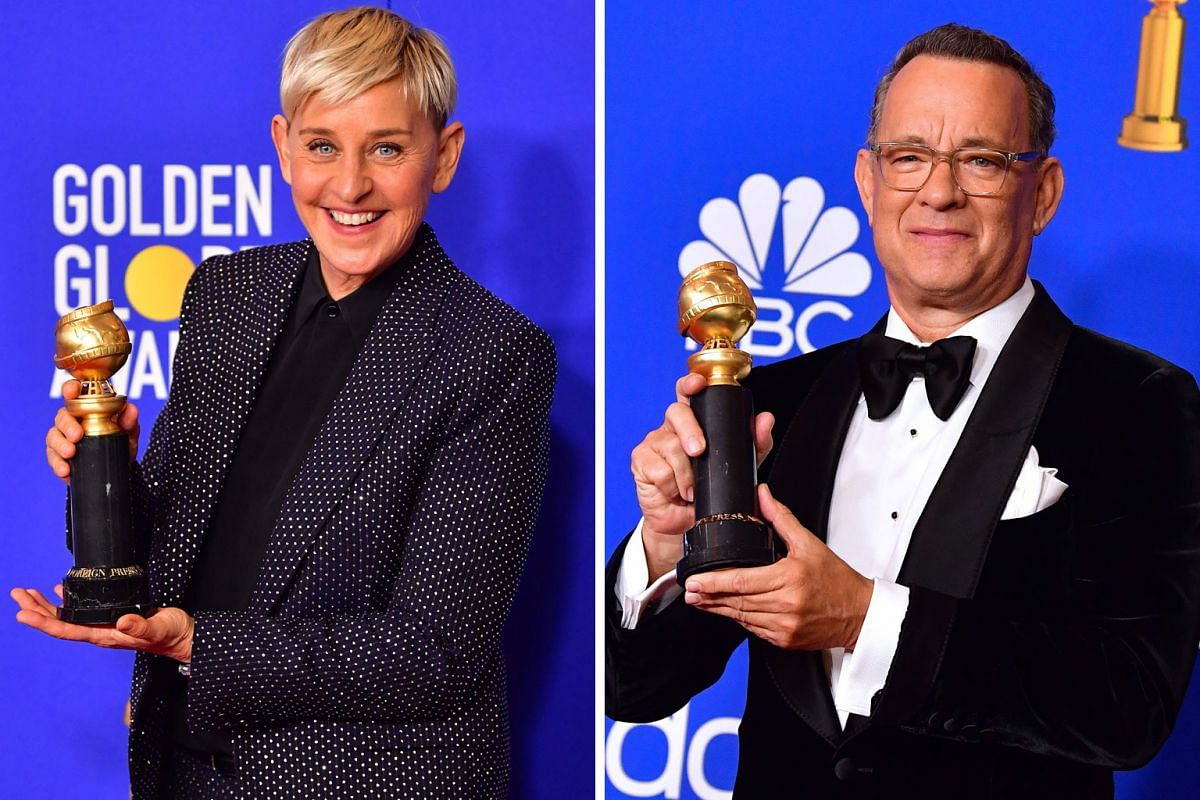 Actress and television host Ellen DeGeneres (left) with the Carol Burnett Award and actor Tom Hanks (right) with the Cecil B. DeMille Award.