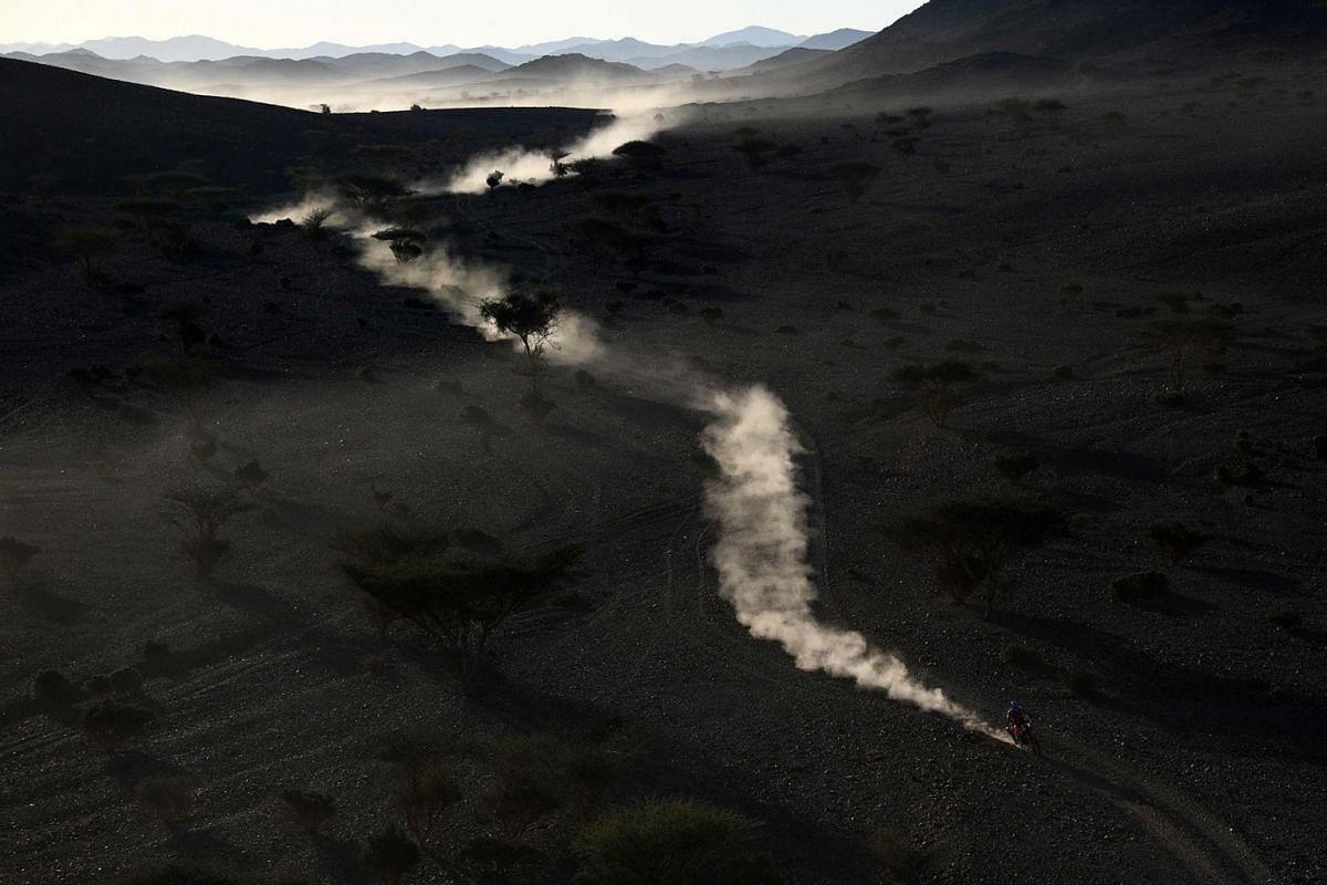 Rockstar Energy Husqvarna Factory Racing's Pablo Quintanilla in action during of Dakar Rally in Al Wajh, Saudi Arabia, Jan 6, 2020.