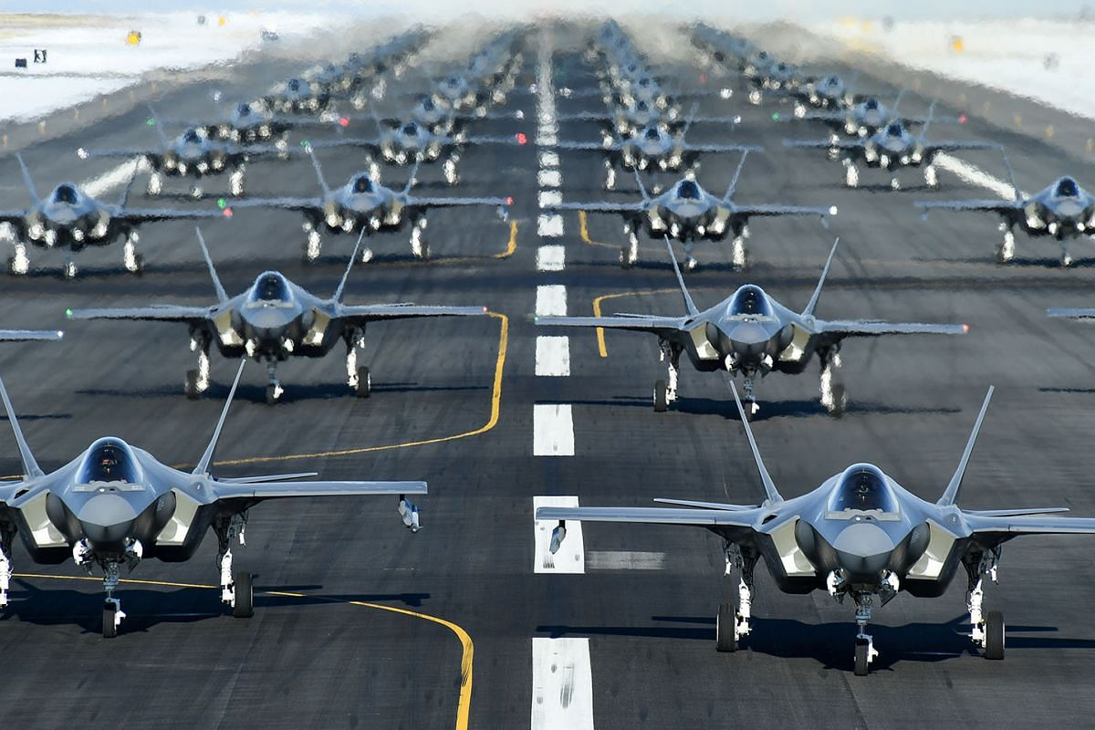 """U.S. Air Force F-35A aircraft, from the 388th and 428th Fighter Wings, form up in an """"elephant walk"""" during an exercise at Hill Air Force Base, Utah, U.S., Jan 6, 2020."""