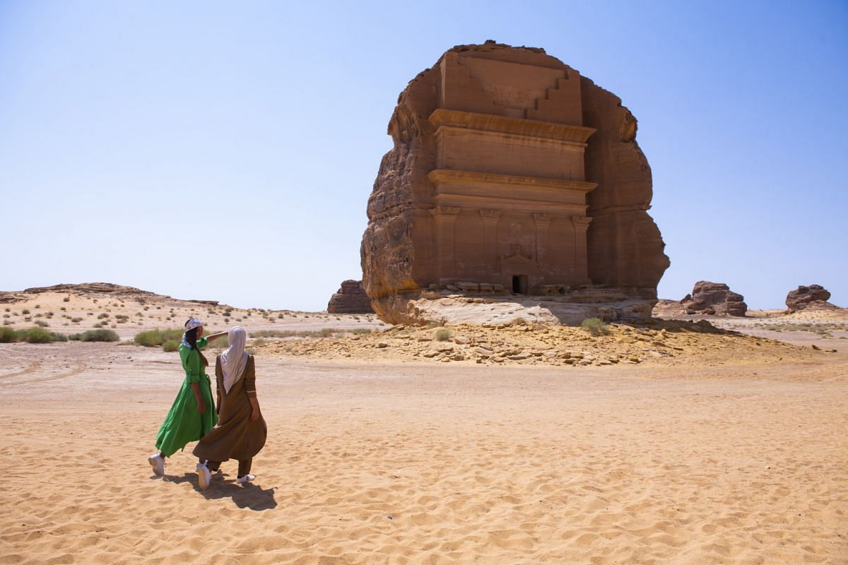 Madain Saleh in Al-Ula in Saudi Arabia is peppered with 131 towering tombs that remain beautifully intact.