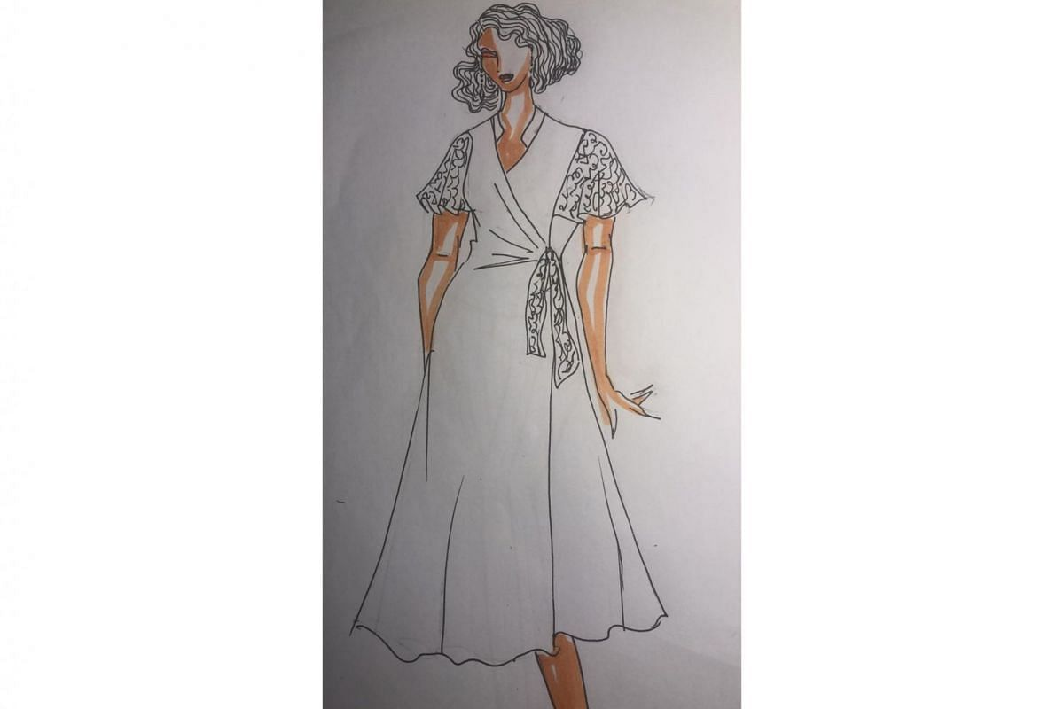 The V-neck is visually slimming, the draping at the front smooths out the mid-section, flowy sleeves conceal heavy upper arms and a see-through lace effect for the sleeves gives the dress a lighter look. The A-line skirt creates a pleasing silhouette