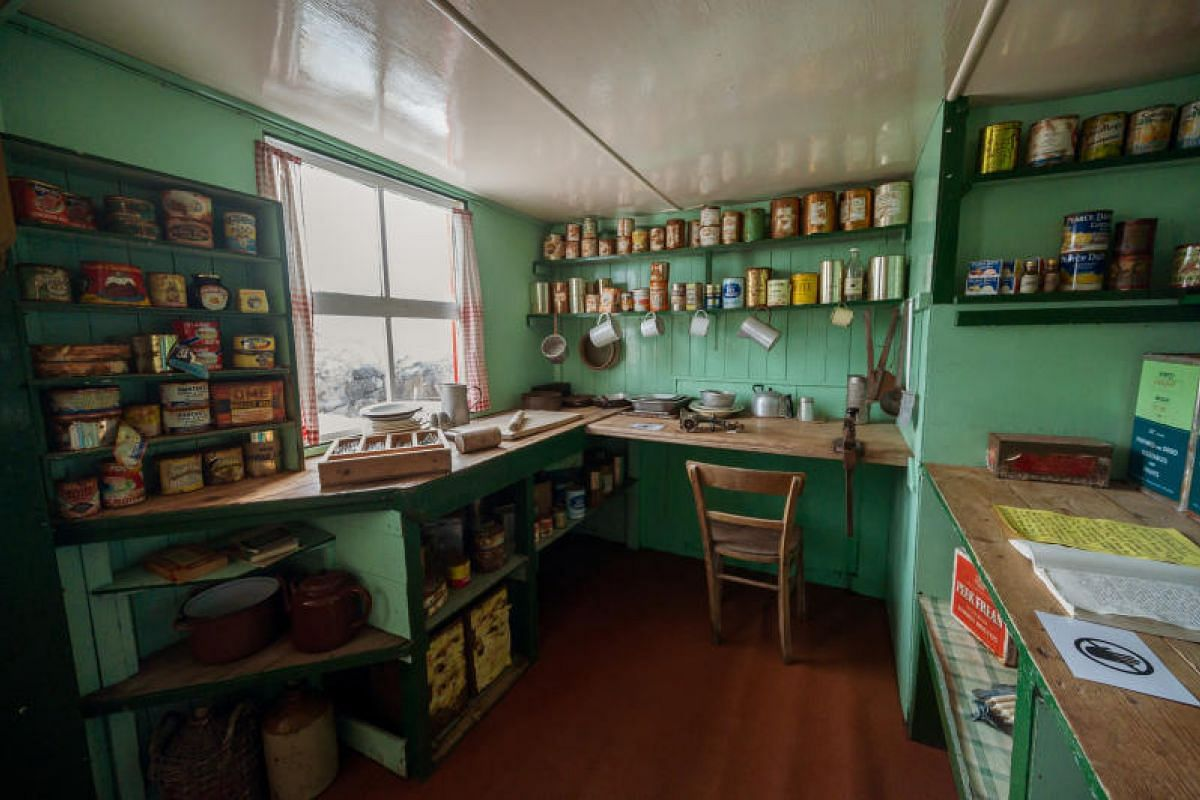 A museum inside the British research station of Port Lockroy displays the kitchen decked in 1960s style. It was used by staff when it was still a research station.
