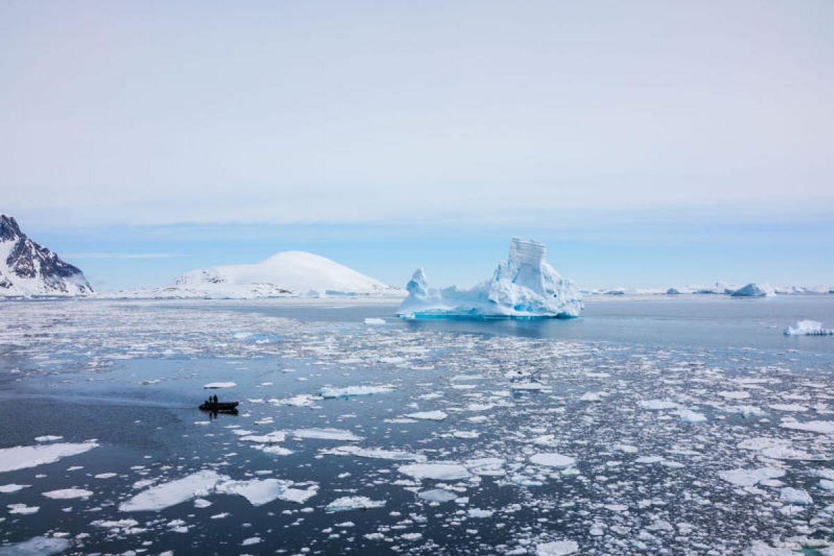 The Albatros Expedition Team on recce for a safe passage between the ice floes during a sightseeing tour.