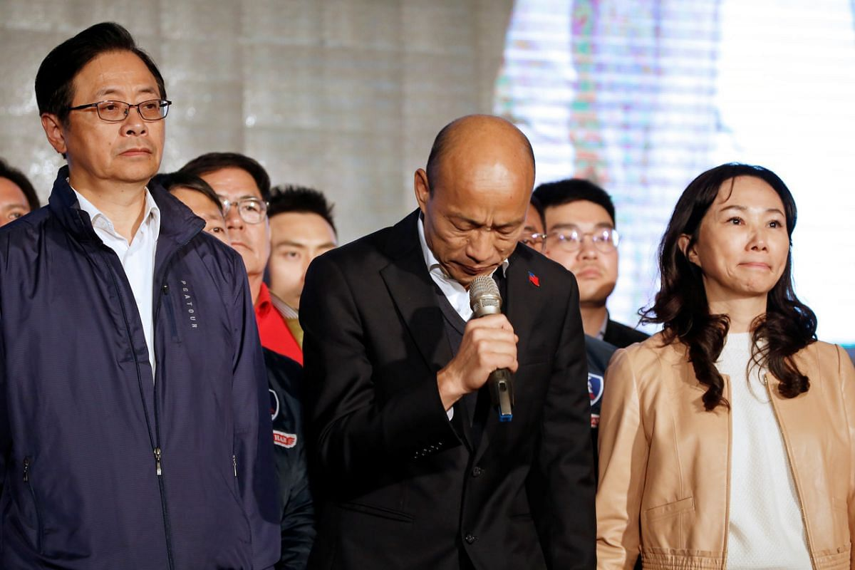 Kuomintang party's presidential candidate Han Kuo-yu admits defeat in presidential election in Kaohsiung on Jan 11, 2020.