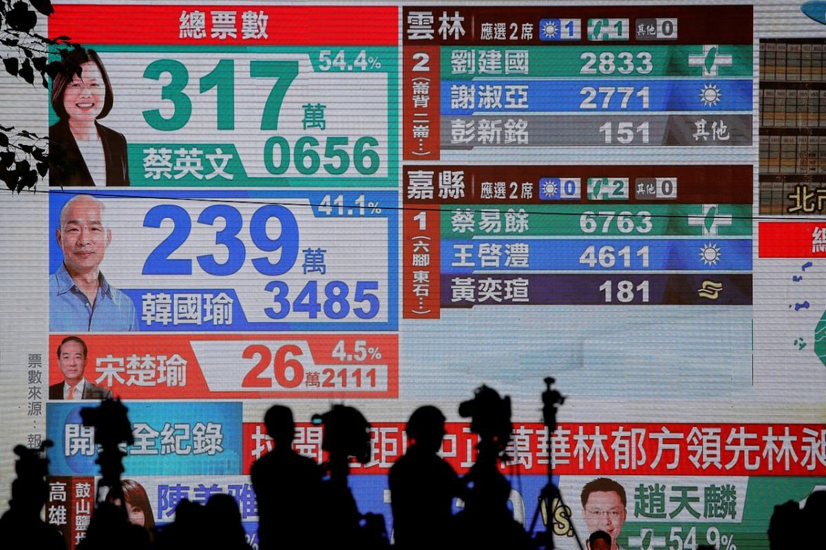 Media film votes being counted live at the Kuomintang party headquarters in Kaohsiung on Jan 11, 2020.