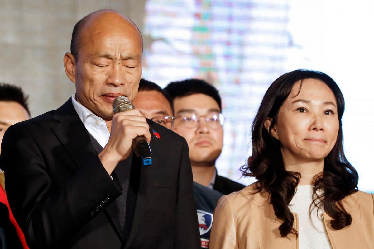 Kuomintang party's presidential candidate Han Kuo-yu admits defeat in the presidential elections, in Kaohsiung on Jan 11, 2020.