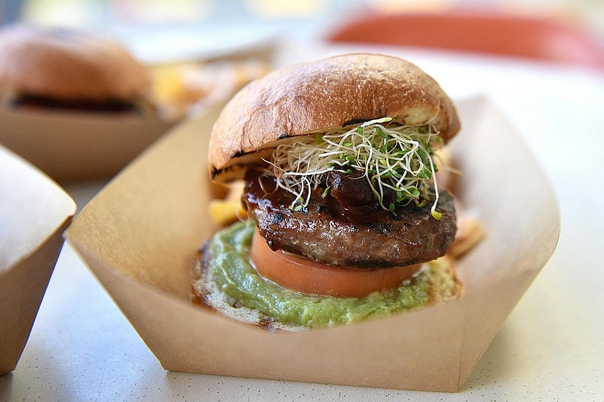 Smoked dried chipotle & guacamole beef burger.