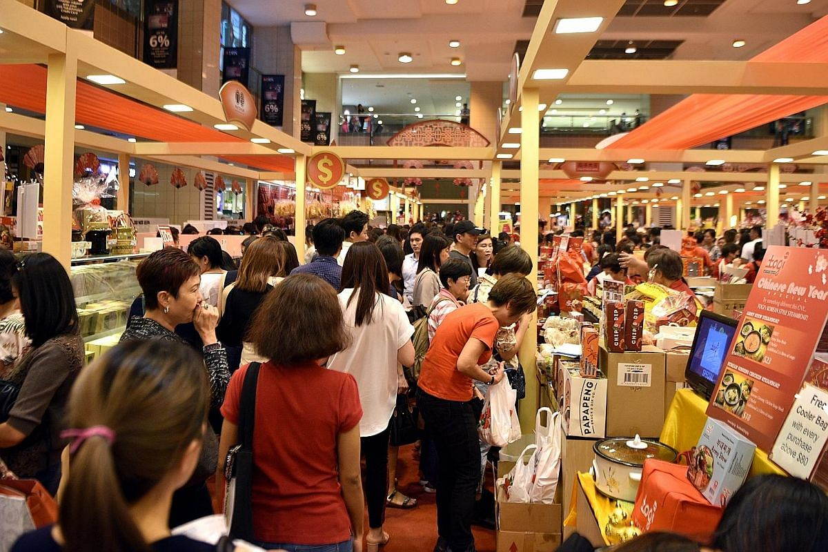 Takashimaya's Chinese New Year fair was buzzing with customers last Thursday afternoon.