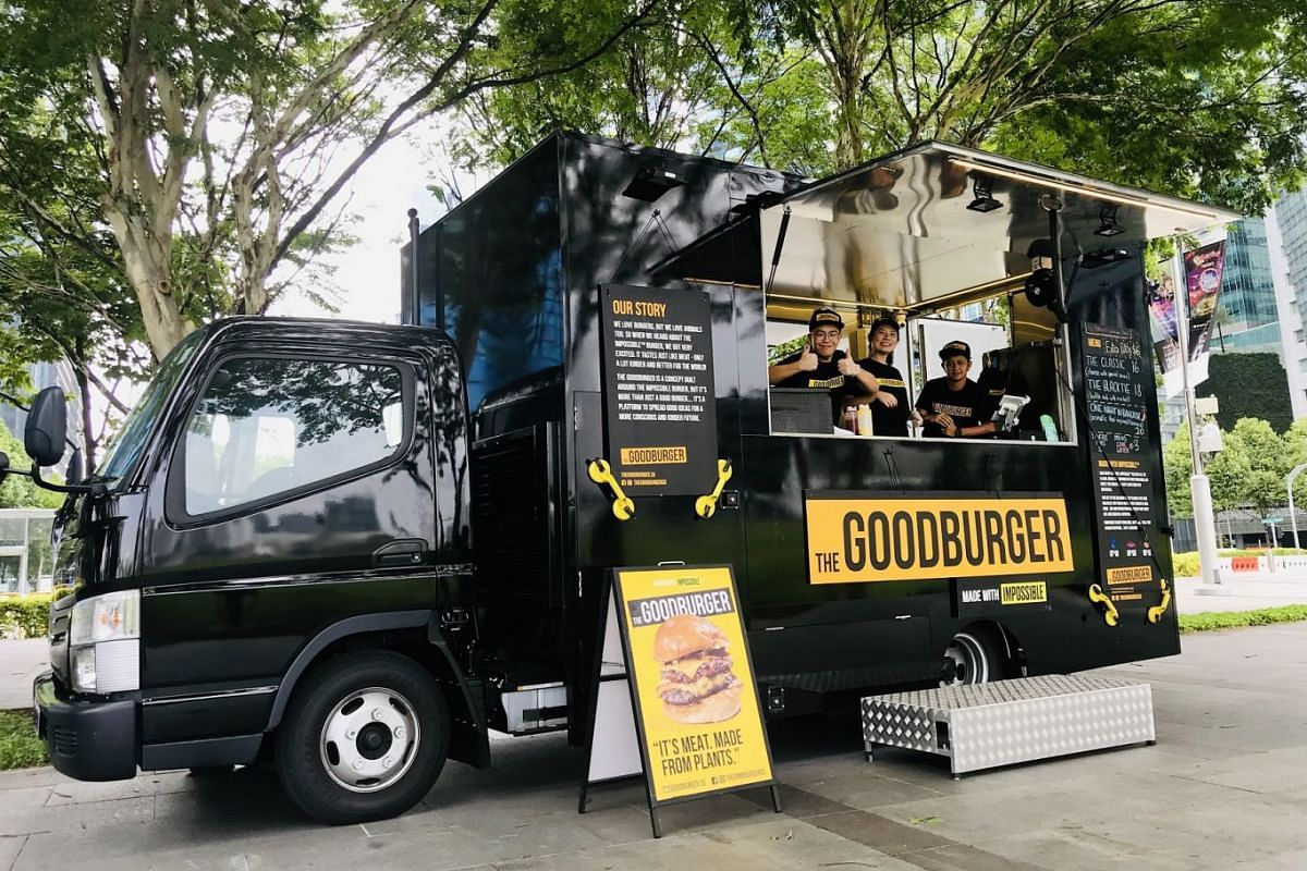 Food truck The Goodburger serves burgers with Impossible meat patties.