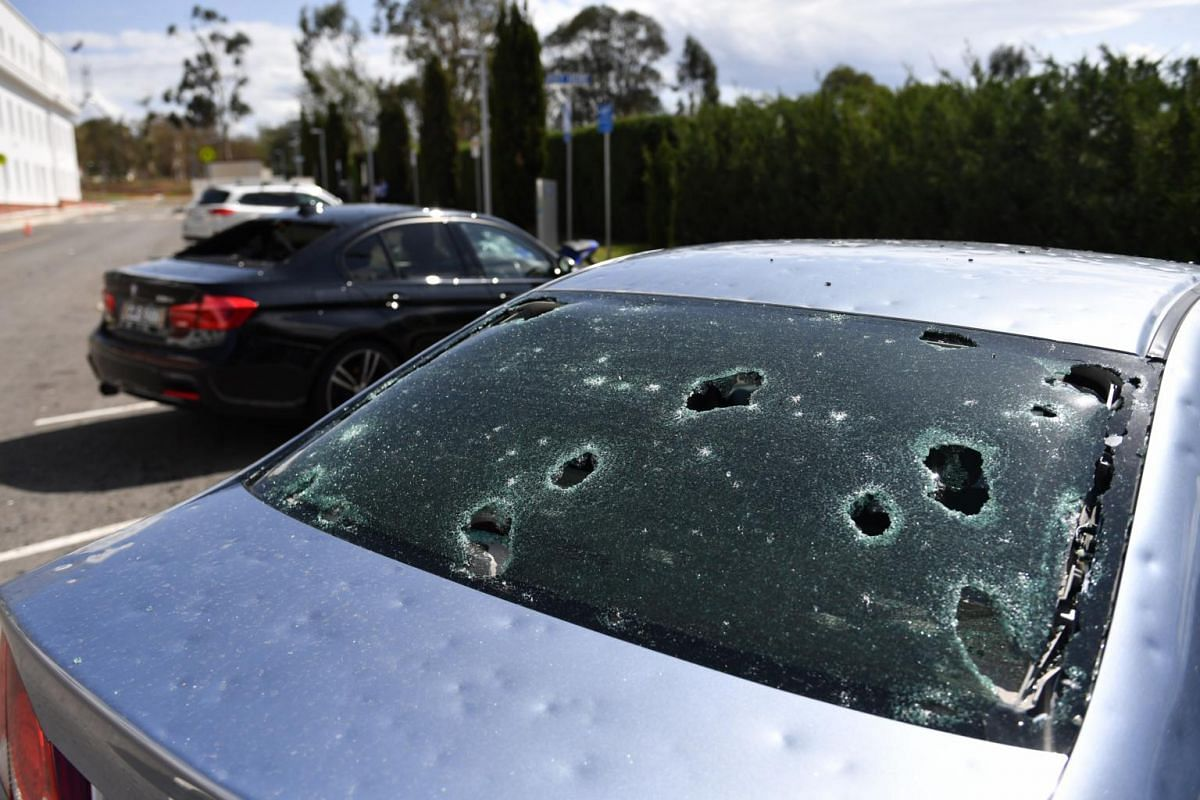 Damaged cars outside Old Parliament House after a hailstorm hit Canberra on Jan 20, 2020.