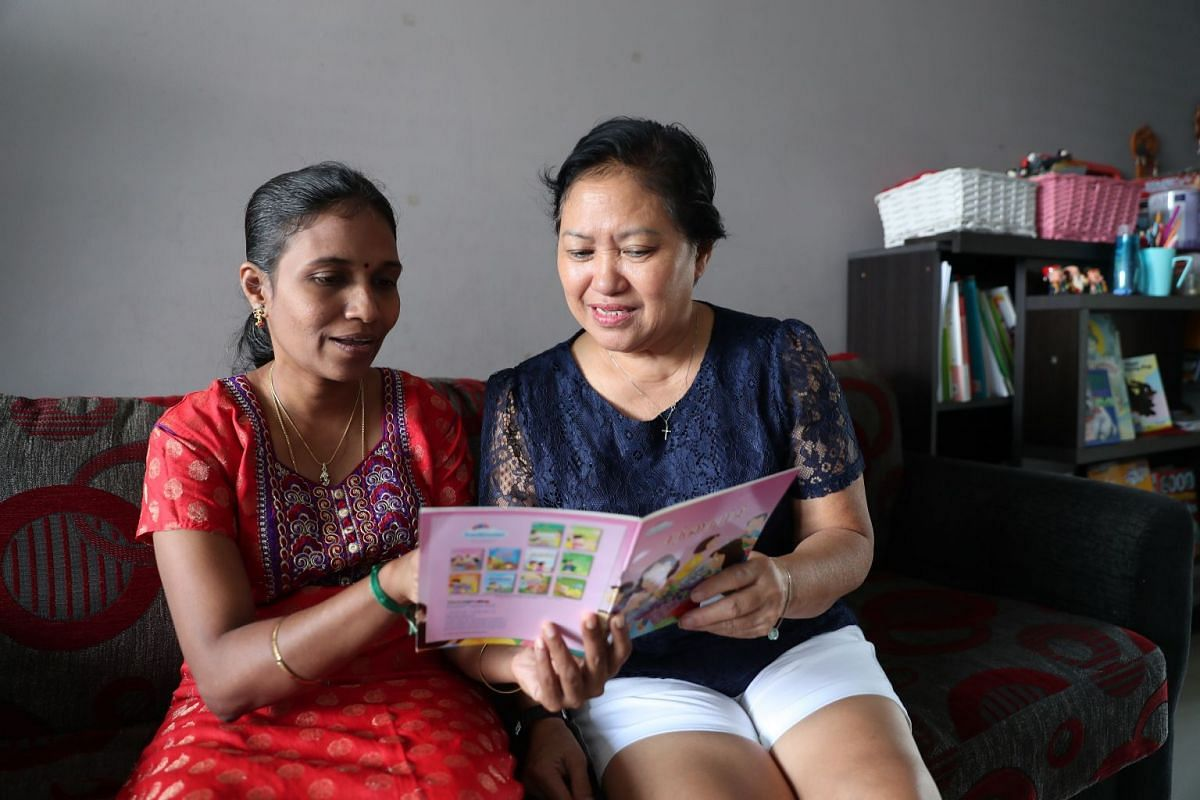 Madam Margaret Chew Siew Lan, 65, is learning Tamil from her neighbour Hemalatha Ramesh, who is also the founder of Singa Academy, which has Tamil classes for children and adults.